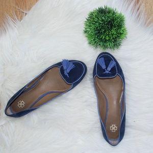 Ann Taylor Blue Suede Tassle Loafer Flats 9.5